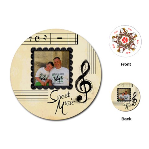 Sweet Music Round Playing Cards By Catvinnat   Playing Cards (round)   Tidmzrj4xr4t   Www Artscow Com Front
