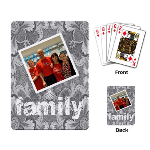 Grey Damask family playing Cards by Catvinnat Back