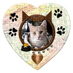 Beware of Cat Heart Puzzle - Jigsaw Puzzle (Heart)