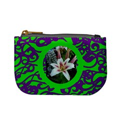 Funky Green & Purple Mini Coin Purse by Catvinnat Front