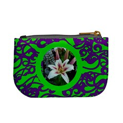 Funky Green & Purple Mini Coin Purse by Catvinnat Back