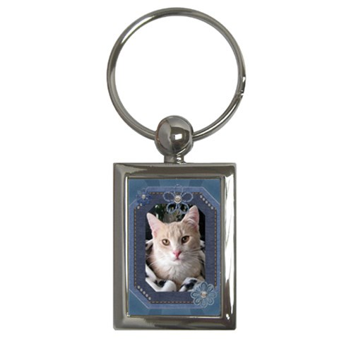 Blue Denim Rectangle Key Chain By Lil    Key Chain (rectangle)   7smunndnls1t   Www Artscow Com Front