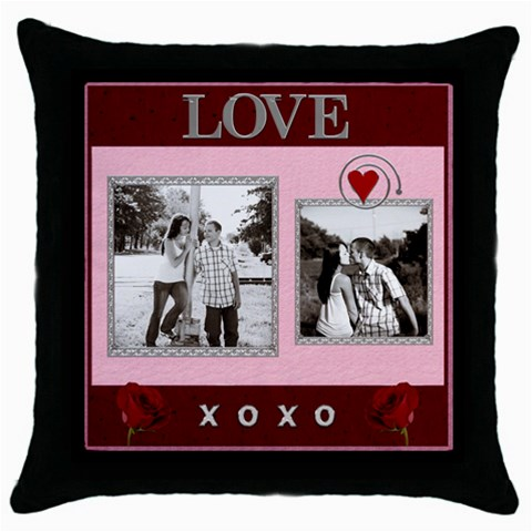 Kiss & Hug Throw Pillow Case By Lil    Throw Pillow Case (black)   9m0vj10e9tra   Www Artscow Com Front