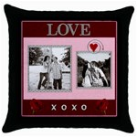 Kiss & Hug Throw Pillow Case - Throw Pillow Case (Black)