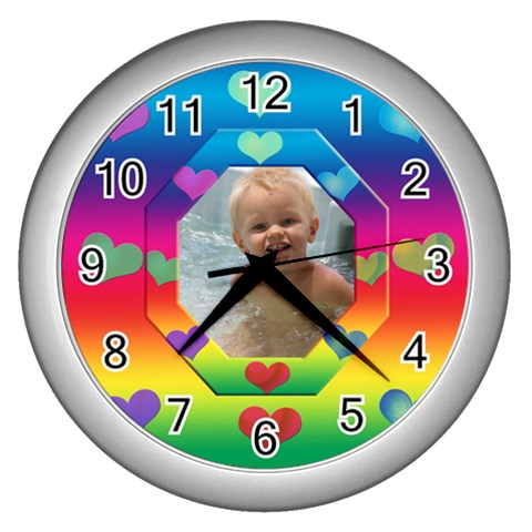 Allaboutlove Clock By Kdesigns   Wall Clock (silver)   H4sja3dulauq   Www Artscow Com Front