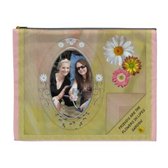 Friends & Flowers Xl Cosmetic Bag By Lil    Cosmetic Bag (xl)   1ngmsh5ccjow   Www Artscow Com Front