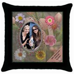 Our Friendship Forever Blooms Throw Pillow Case  - Throw Pillow Case (Black)