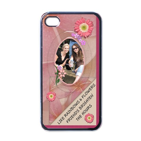Friends & Flowers Apple Iphone Case By Lil    Apple Iphone 4 Case (black)   H0u1q4qj06dt   Www Artscow Com Front