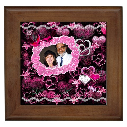 Hearts N Roses You Light Up My Life Pink Framed Time By Ellan   Framed Tile   Y384plml2ynw   Www Artscow Com Front