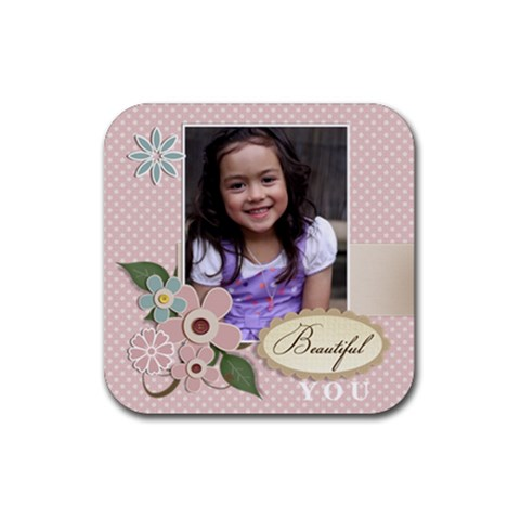Rubber Square Coaster (4 Pack)  Beautiful You By Jennyl   Rubber Square Coaster (4 Pack)   Klzvgxlcjo0f   Www Artscow Com Front