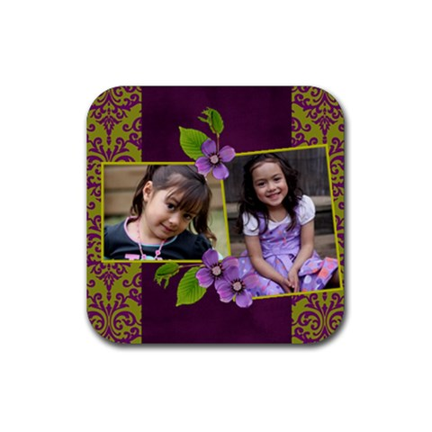 Rubber Square Coaster (4 Pack)  Purple Kiss By Jennyl   Rubber Square Coaster (4 Pack)   Paufpeuk8pzk   Www Artscow Com Front
