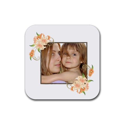 Flower Kids By Wood Johnson   Rubber Coaster (square)   Zfn9glq6jckr   Www Artscow Com Front
