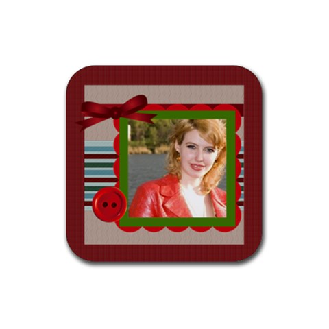 Red  Rubber Coaster  By Joely   Rubber Coaster (square)   51bzfz3q3adq   Www Artscow Com Front