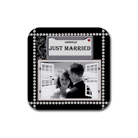 Just Married Coaster By Lil    Rubber Coaster (square)   N67yqmhgzup0   Www Artscow Com Front