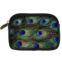 Peacock Feathers Digital Camera Leather Case by photogiftanimaldesigns
