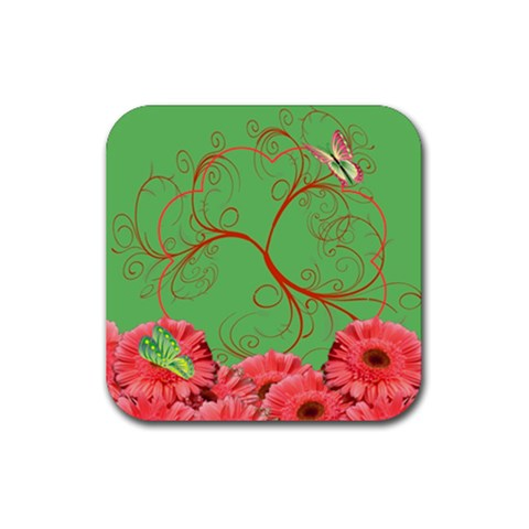 Coaster Flowers And Butterflies By Galya   Rubber Coaster (square)   Qmumawhccmnx   Www Artscow Com Front