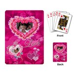 Love pink butterfly Heart Rose w 2 photos - Playing Cards Single Design