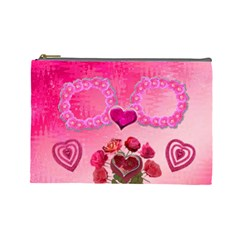 Hearts N Roses Pink Large Cosmetic Bag By Ellan   Cosmetic Bag (large)   Daxye8fkhlid   Www Artscow Com Front