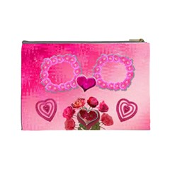 Hearts N Roses Pink Large Cosmetic Bag By Ellan   Cosmetic Bag (large)   Daxye8fkhlid   Www Artscow Com Back