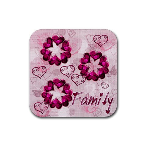 Family Heart Square Coaster By Ellan   Rubber Coaster (square)   4a46link2qym   Www Artscow Com Front