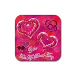 You take my breath away Pink square coaster - Rubber Coaster (Square)