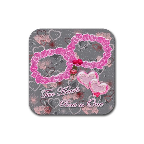 Hearts Pink Silver Square Coaster By Ellan   Rubber Coaster (square)   Kceujjcnwsbh   Www Artscow Com Front