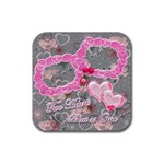 Hearts pink silver square coaster - Rubber Coaster (Square)