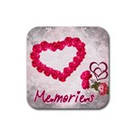 Memories rose heart square coaster - Rubber Coaster (Square)