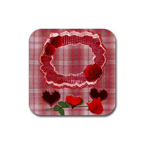 Red Roses N Heart Square Coaster By Ellan   Rubber Coaster (square)   26a2ahd1pzan   Www Artscow Com Front