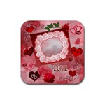 Valentine kisses w roses heart square coaster - Rubber Coaster (Square)