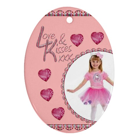 Love & Kisses Oval Ornament By Catvinnat   Ornament (oval)   W3js4wj30dpd   Www Artscow Com Front
