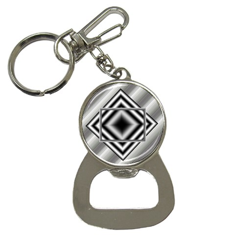 Grey bottle opener key chain by Daniela Front