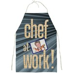 chef at work denim blue full print apron
