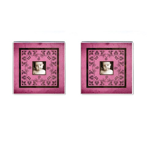 Pink Candy Art Neaveau Square Cuff Links By Catvinnat   Cufflinks (square)   Mm1u9gigsoz4   Www Artscow Com Front
