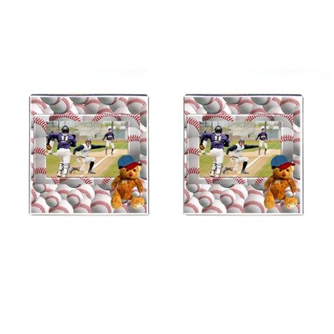 Baseball Cufflinks1 By Snackpackgu   Cufflinks (square)   E2qgxn0k4hb2   Www Artscow Com Front(Pair)