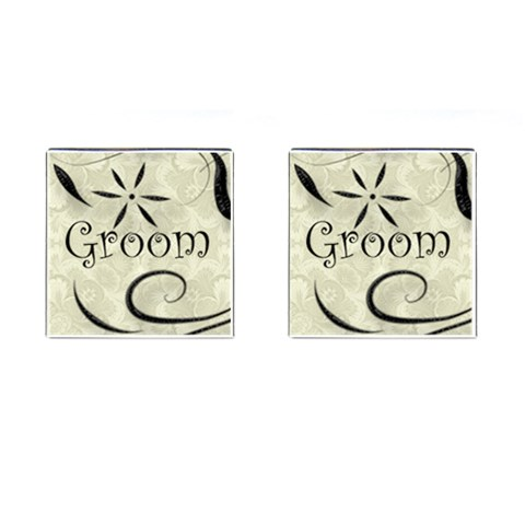 Ivory & Black Styalized Grooms Cufflinks  By Catvinnat   Cufflinks (square)   Gs5nou1fn1lt   Www Artscow Com Front(Pair)