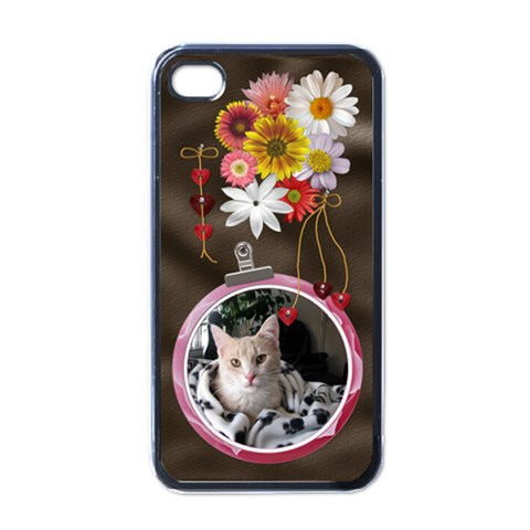 Pretty Floral Apple Iphone Case By Lil    Apple Iphone 4 Case (black)   Xm8o2vuswqwo   Www Artscow Com Front