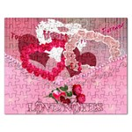 Love Notes Pink Heart Puzzle - Jigsaw Puzzle (Rectangular)