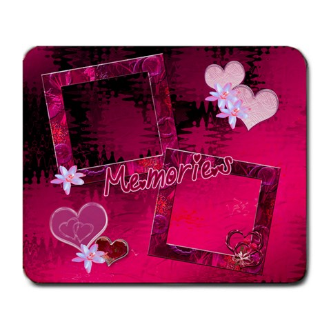 Memories Hot Pink Hearts N Roses Pink Mouse Pad By Ellan   Large Mousepad   Xeo8jqjw2zba   Www Artscow Com Front