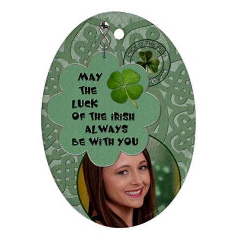 Lucky Irish Oval Ornament By Lil    Ornament (oval)   R78jiv5fxpno   Www Artscow Com Front