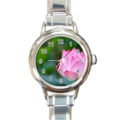 Red Pink Flower Round Italian Charm Watch by ironman2222