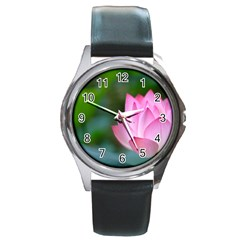 Red Pink Flower Round Metal Watch by ironman2222