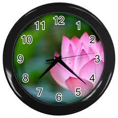 Red Pink Flower Wall Clock (black) by ironman2222