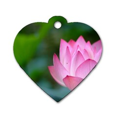 Red Pink Flower Dog Tag Heart (one Side) by ironman2222