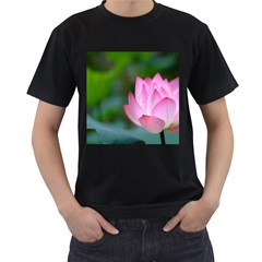 Red Pink Flower Black T Shirt by ironman2222