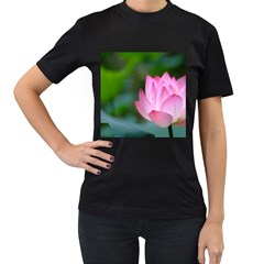 Red Pink Flower Women s Black T Shirt