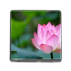 Red Pink Flower Memory Card Reader With Storage (square)