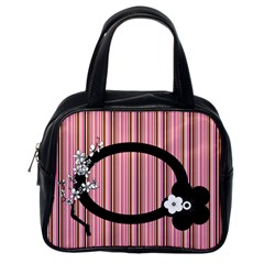 Pink Stripes By Kim White   Classic Handbag (two Sides)   Ehf0iywauzws   Www Artscow Com Back