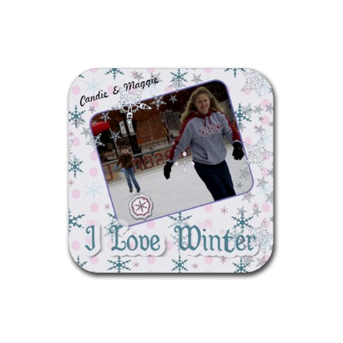 Candie & Maggie Winter 2010 By Rhonda Crawford   Rubber Coaster (square)   41o960w2fejl   Www Artscow Com Front