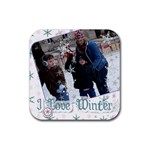 Maggie, Kollin & Amy winter - Rubber Coaster (Square)